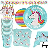 102 Piece Rainbow Unicorn Party Supplies Set Including Banner, Plates, Cups, Napkins, Straws, and Tablecloth, Serves 20