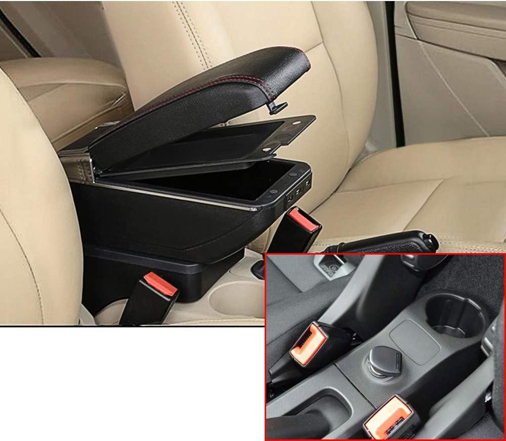 For Smart Fortwo Forfour 2009-2018 Top Car Armrest Center Console Accessories Arm Rest Charging Function With 7 USB Ports Double-space Black