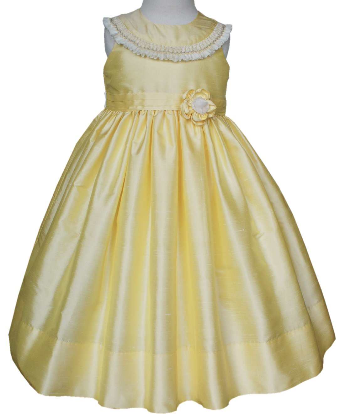 Adorable yellow silk dupioni Princess Belle smocked dress
