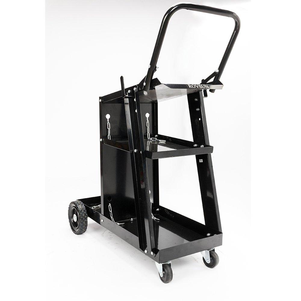 ROVSUN Heavy Duty Welding Cart Trolley Welder Plasma MIG TIG ARC Cutter W/Tank Universal Storage Bigger Rubber Wheels Safety Chains (w/o drawer)