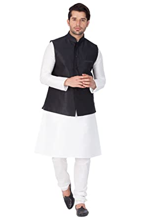 57cf494fef Vastramay Men Cotton Silk Kurta Modi Jacket and Pyjama Set  (White_VASMJBL001nKWH001nPDWH_36)