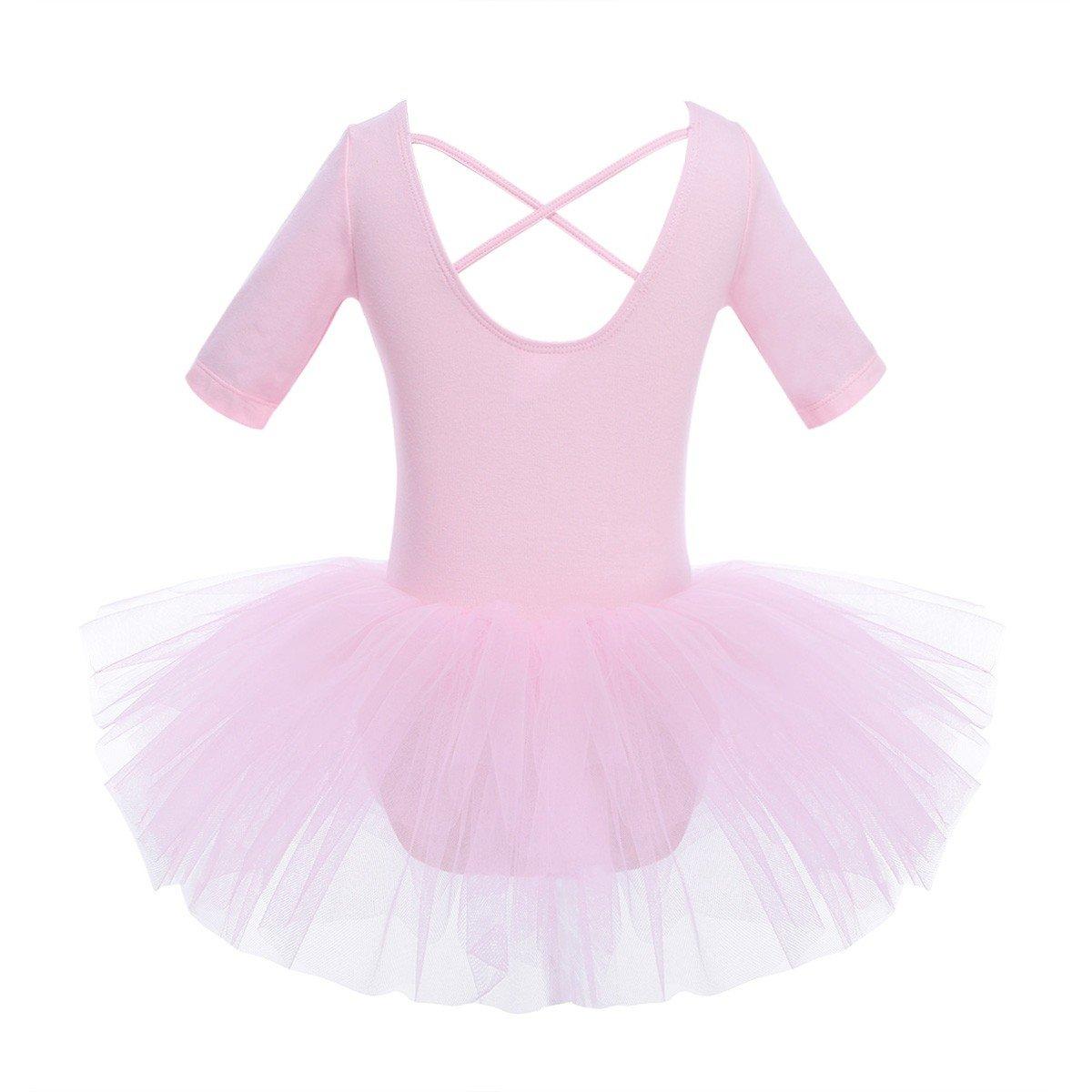 YiZYiF Kids Girl's Short Sleeved Gymnastics Ballet Dance Leotard Dress Cross Back Design