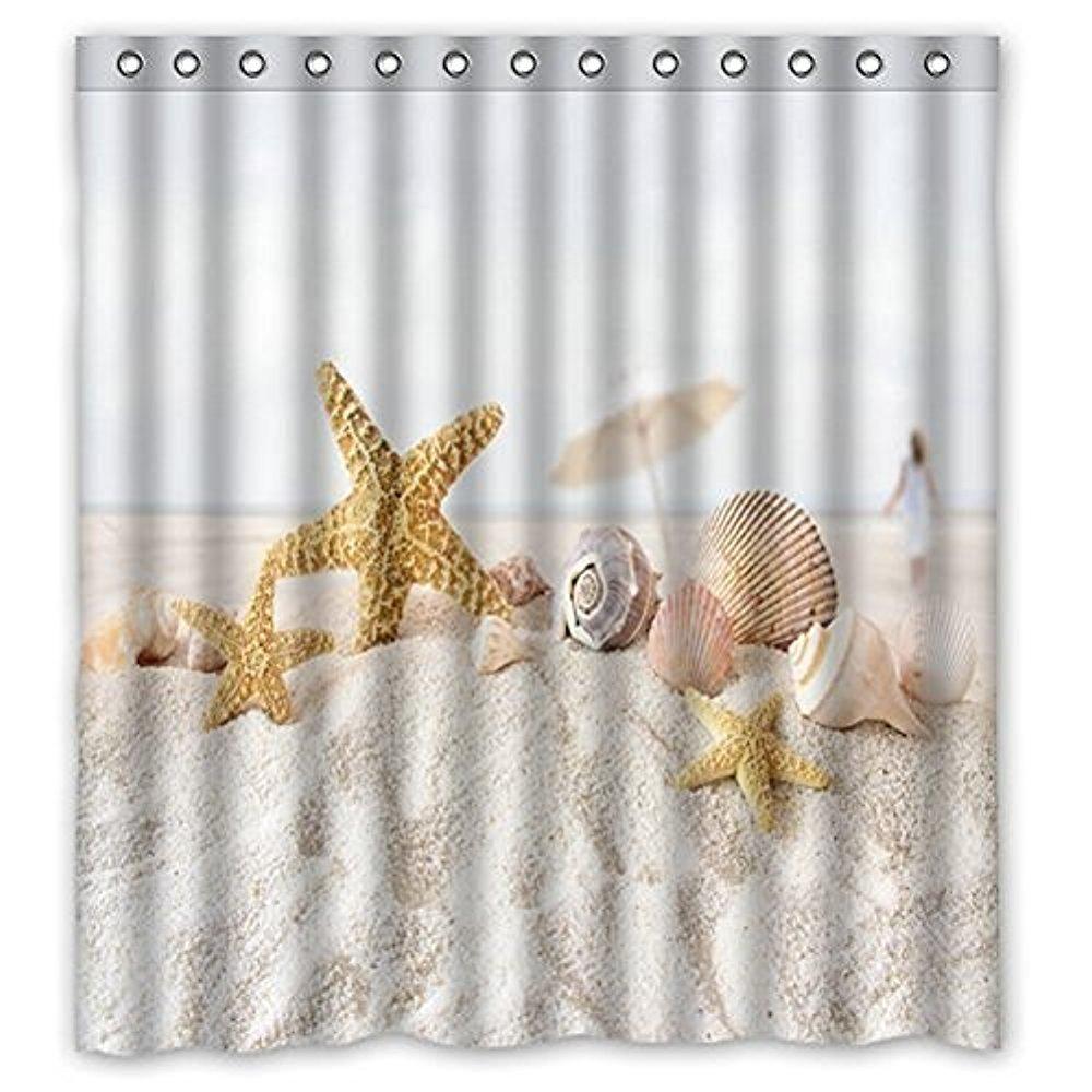 "Vandarllin Unique Starfish Seashell Beach Theme Shower Curtain Waterproof Polyester Fabric 66""(w) x 72""(h) Inches-Ocean Bathroom Decor"