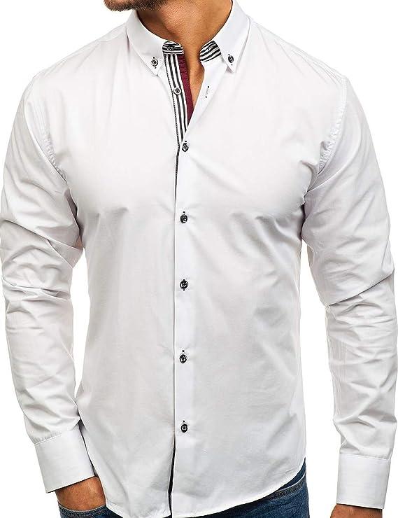 Pinkpum - Camisa para Hombre, de Manga Larga, Estilo Informal, para Planchar, fácil Negocios, Boda Blanco XXL: Amazon.es: Ropa y accesorios