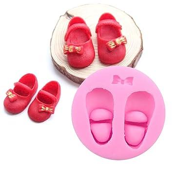 Pandalady - Zapatos de bebé silicona Fondant Cake Mold Herramienta de Cocina Molde para hornear decoración de pasteles modelado: Amazon.es: Hogar