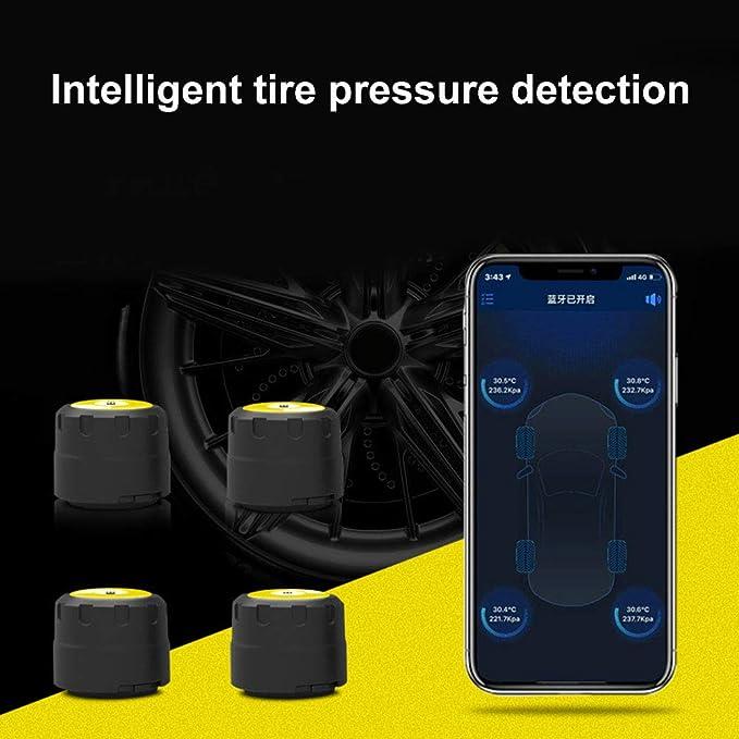 Yshtanj Bluetooth Reifendrucksensor Alarmanlagen Sicherheitssensor 4 Stück Bluetooth 4 0 Telefon App Display Tpms Reifendruckmonitor Externe Sensoren Beleuchtung