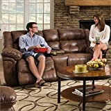 Cheap Simmons Upholstery Wisconsin Beauty Rest Motion Console Loveseat, Chocolate