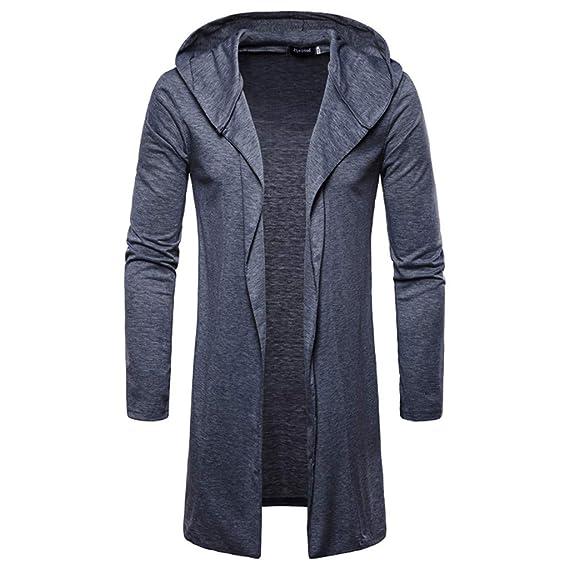 b4d53fd7bea525 MAYOGO Lang Strickjacke Hoodie Solid für Männer