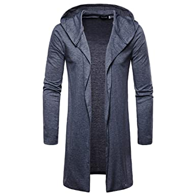 4194bcfd1db NPRADLA Fashion Mens Plus Size Oversized Daily Casual Hooded Solid Trench  Coat Jacket Cardigan Long Sleeve