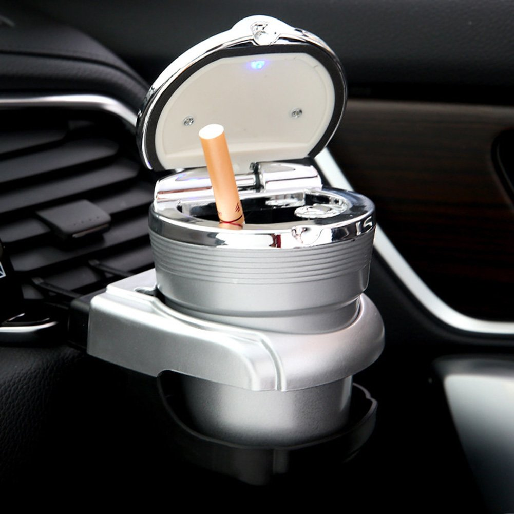 Silver NACHEN Auto Aschenbecher mit Deckel Kreative Auto Dekorationen Auto h/ängen mit LED leuchtet Auto Aschenbecher