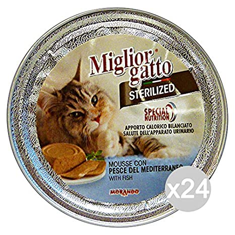 Conjunto de 24 mejor gato esterilizado 85 Gr. Mousse Pescado Del Mediterraneo comida para gatos: Amazon.es: Productos para mascotas