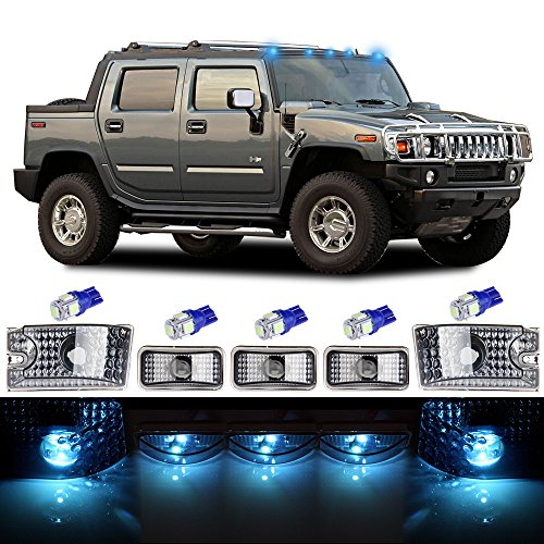 Hummer Lights Roof - cciyu Cab Marker Light 5x Ice Blue Top Clearance Roof Running Light Bulbs Replacement Cab Marker Assembly Replacement fit for 2003-2009 Hummer H2