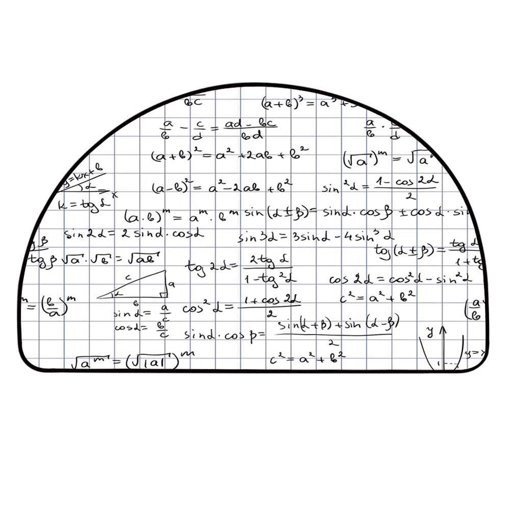 YOLIYANA Mathematics Classroom Decor Half Circle Rug,Squared Notebook Page Lesson Notes Student Print Door Mat,31.4'' H x 62.9'' L by YOLIYANA