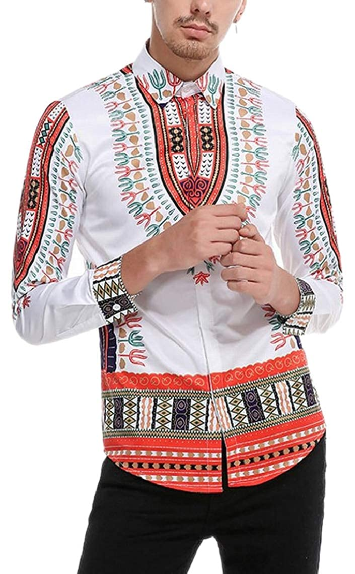 Mens Long Sleeves Turn Down Collar Ethnic Style Printing Button Front Shirts