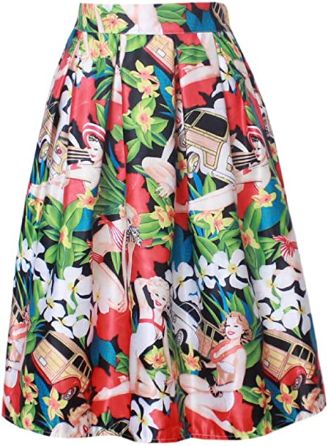 FSDFASS Faldas Retro Vintage Damas Elegante Moda Estampado Floral ...
