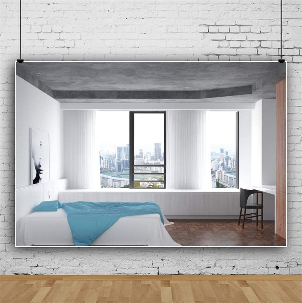 Leowefowa 3D Rendering Modern Brief Bedroom View of Cityscape Backdrop 10x8ft Simple Hotel Interior Vinyl Photography Background Banner Studio Photo Props