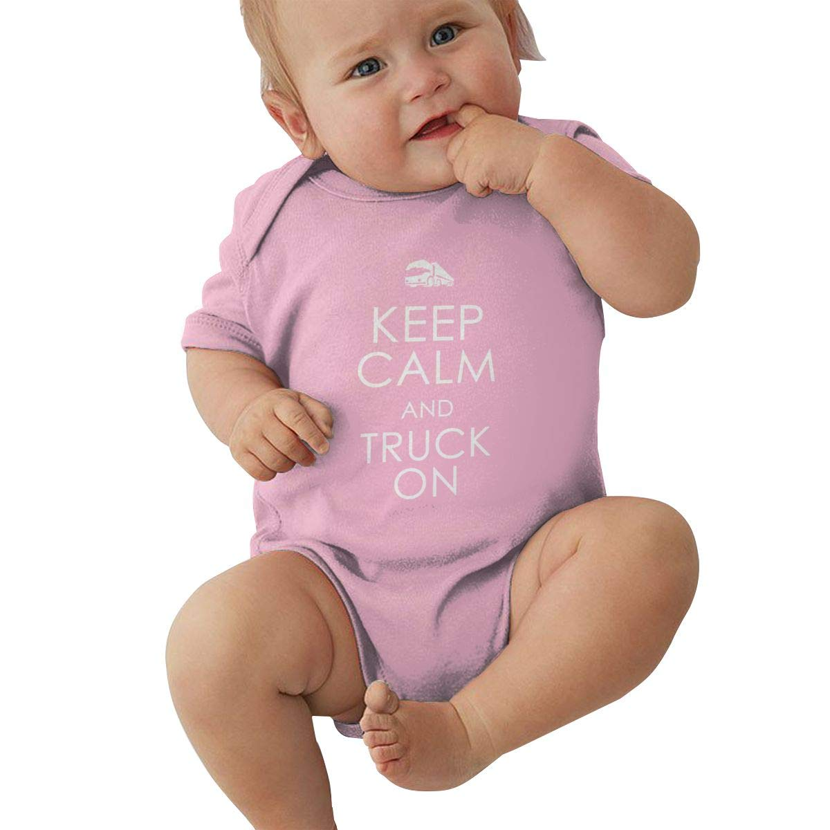 Newborn Baby Girls Bodysuit Short-Sleeve Onesie Keep Calm Truck On Print Jumpsuit