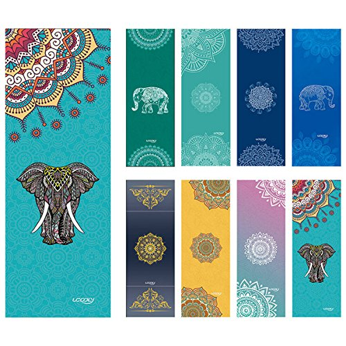 Yoga Towel ,Microfiber Mat Towels w Free Spray Bottle and Smart Corner Pocket Elastic Loop Design, Non Slip,Super Soft Sweat Absorbent Towel for Hot Yoga,Pilates and Fitness 24×72″ (Elephant-Blue)
