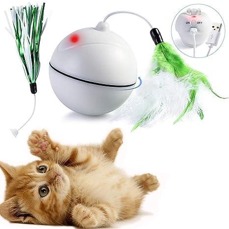 DYBOHF Juguetes para Gatos, [Carga USB] con Luces LED/Plumas. rotación