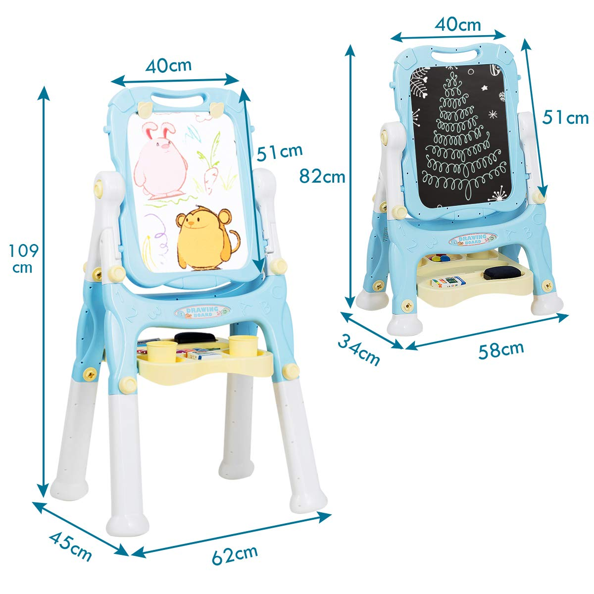 Art Supplies and Large Storage Tray GYMAX blue Kids 360/° Rotating Portable Easel Double-Sided Height Adjustable Standing Magnetic Easel with Magnetic Beads