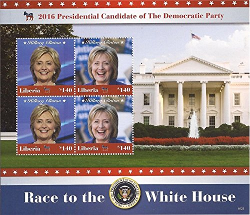 USPS Liberia - 2016 Hillary Clinton - 4 Stamp Sheet - 12A-078