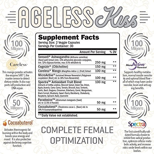 RAW Synergies Ageless Kiss Anti Aging Cognitive Metabolism Booster for Weight Loss, Natural Energy and Brain Support, Fat Burner Supplement for Women, Stress Relief and Cortisol Manager, 60 Vcaps