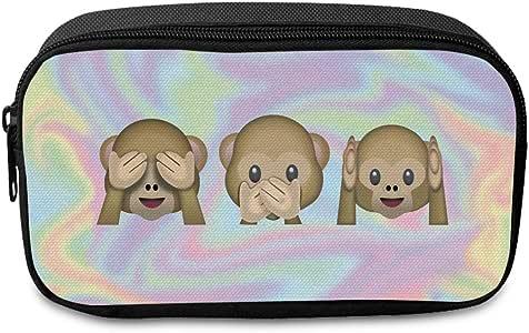 Fringoo Estuche grande para lápices, diseño holográfico de emojis de monos, ideal para el colegio, color EMOJI MONKEY HOLO - Front Large: Amazon.es: Oficina y papelería