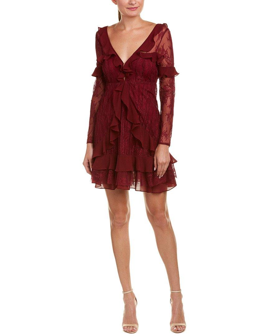 For Love & Lemons Women's Daphne Lace Mini Dress, Bordeaux, S