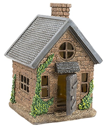 The Adorable Fairy Garden House With A Door That Opens and Closes | 7 Tall | Cute Windows On All Sides Of The House | Perfect For Any Garden Or Patio (Brick Covered Patio)