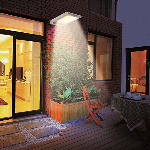 46-LED-Outdoor-Solar-Wall-Light-Motion-Activated-Security-Lighting-Wireless-Exterior-Lantern-Weatherproof-Aluminum-Fixture-Super-Bright-Spotlight-for-Patio-Pool-Yard-Deck-Porch-Silver-4