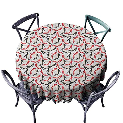 (Polyester Round Tablecloth Christmas Tablecloth Red and Black,Women Fashion Pattern with High Heel Stiletto Shoes Ladies Footwear, Scarlet Black Beige Diameter 54