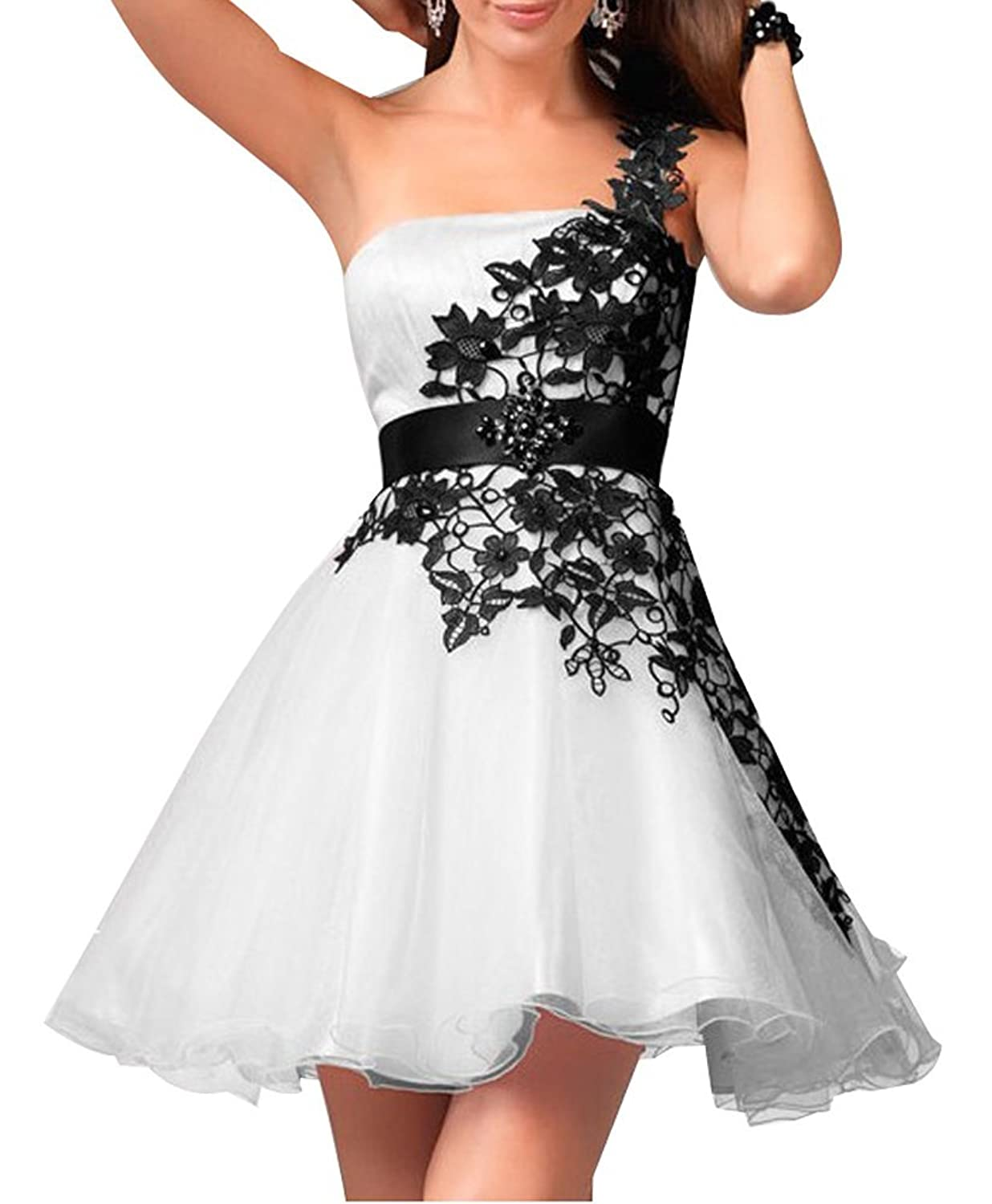 LISA.MOON Women's One Shoulder Backless Lace Applique Tulle Short Homecoming Gown