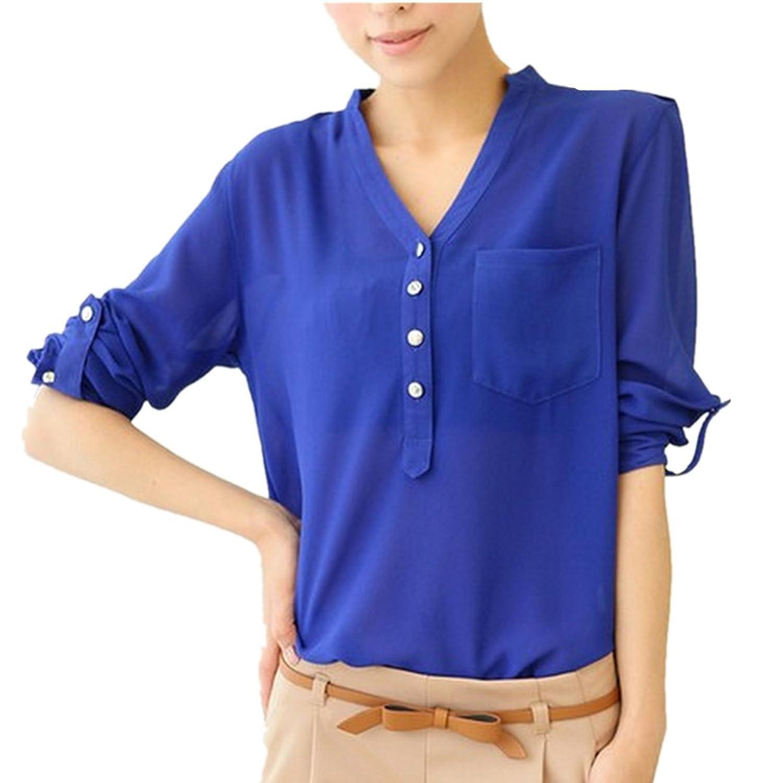 LOBTY Damen Bluse Shirt mit V-Ausschnitt Chiffon Tunika Hülsen-beiläufige Hemd-Bluse OL sexy T-shirt Oberteile Frauen Bluseshirt Tops