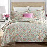 Brandream Queen Size Girls Bedding Sets Romantic Green Floral Bed Quilt Set