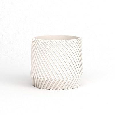"8"" Plant Pot - 3D Printed Mold - Line Texture - Stone - Matte White : Garden & Outdoor"