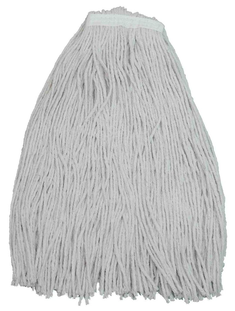 Zephyr 10016 Shineup 4-ply Cotton 16oz Cut End Wet Mop Head with 1-1/4'' Regular Headband (Pack of 12)