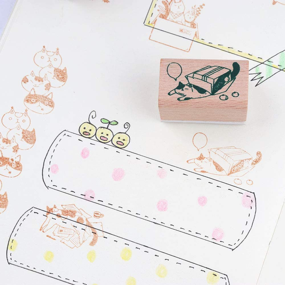 Gift Wrapping and Cards NogaMoga 6 pcs Animal Rubber Seal with Cute Patterns Wooden Rubber Stamp Set Wood Mounted Decorative Stamps for DIY Scrapbooking Craft