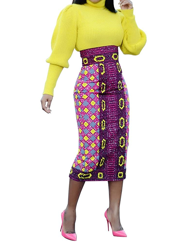 Runcati Womens African Print Floral Midi Knee Length Skirts Slim Fit Bodycon High Waist Pencil Dresses