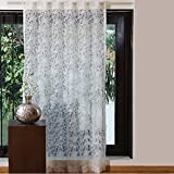 Cheap Cambay Linens Sweet Flower Soft Cotton Bedroom Window Curtain – Perfect Sheer Burnout Floral Living Room Window Curtain, White 52″ X 84″