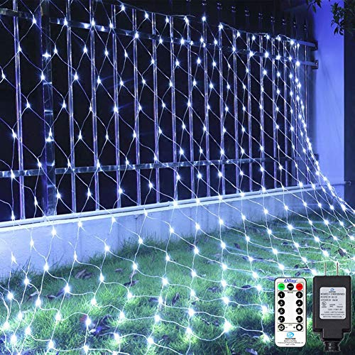 Ollny LED Net Mesh Fairy String Decorative Lights 200 LEDs 9.8ft x 6.6ft Tree-wrap Lights with Remote for Christmas Outdoor Wedding Garden Decorations White (Lights Cool Really Christmas)