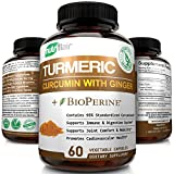 Turmeric Curcumin with Ginger & BioPerine Black Pepper Supplement :: Anti-Inflammatory, Antioxidant, Anti Aging :: 100% Natural, Non-GMO, Vegan Best Maximum Potency, No Side Effects (60 Capsules)