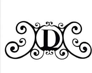 Bookishbunny Monogram Initial Letter A-Z Wrought Iron Metal Scrolled Door Wall Decoration Plaque Art, 24 x 11 inch 2mm Thick (D)