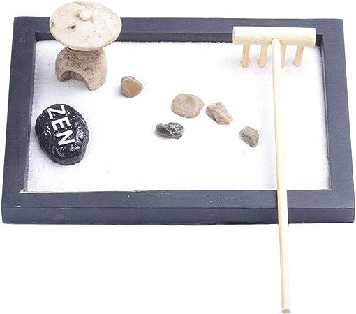 DeoMeat - Mini Mesa de jardín Zen con Piedras de sonajero y decoración de Arena, Oficina en casa: Amazon.es: Hogar