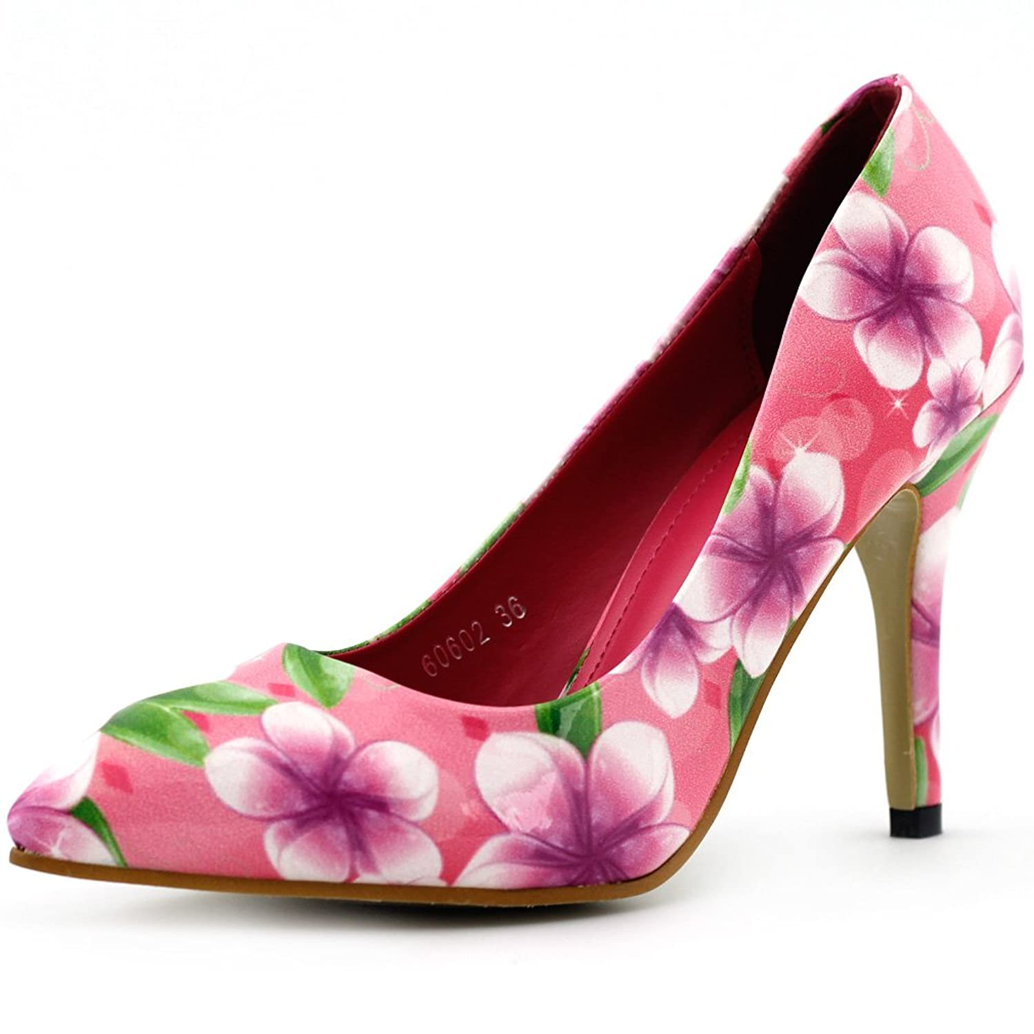 Amazon Show Story Pink Multicoloured Floral Print Pointy Toe