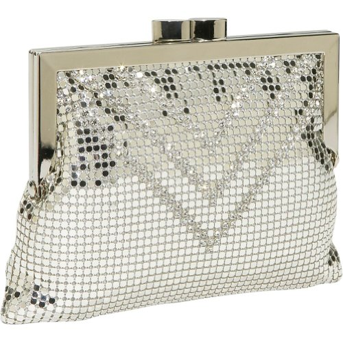 Whiting and Davis Crystal Chevron Cross-Body,Silver,one size, Bags Central