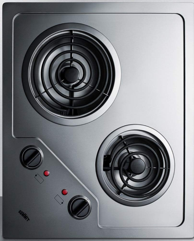 """Summit CR2B224S Two Burner 230V Electric Cooktop Designed For Portrait or Landscape Installation With Coil Elements and Stainless Steel Finish Fits 20"""" x 16"""" Counter Cutouts, 3.38""""H x 21.25""""W x 18.0""""D"""