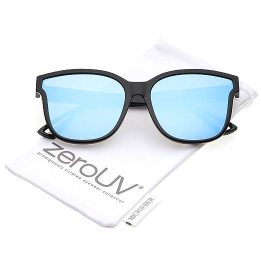 f390bad5f2 zeroUV - Women s Horn Rim Metal Accent Mirrored Square Flat Lens Cat Eye  Sunglasses 55mm (