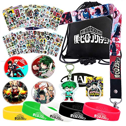 My Hero Academia Bag Gift Set - 1 MHA Drawstring Bag Backpak, 12 Sheet Stickers, 1 Lanyard, 1 Mouth Mask, 1 Keychain, 1 Phone Ring Holder, 5 Bracelets, 4 Button Pins for Anime MHA Fans (Black) from Rehero