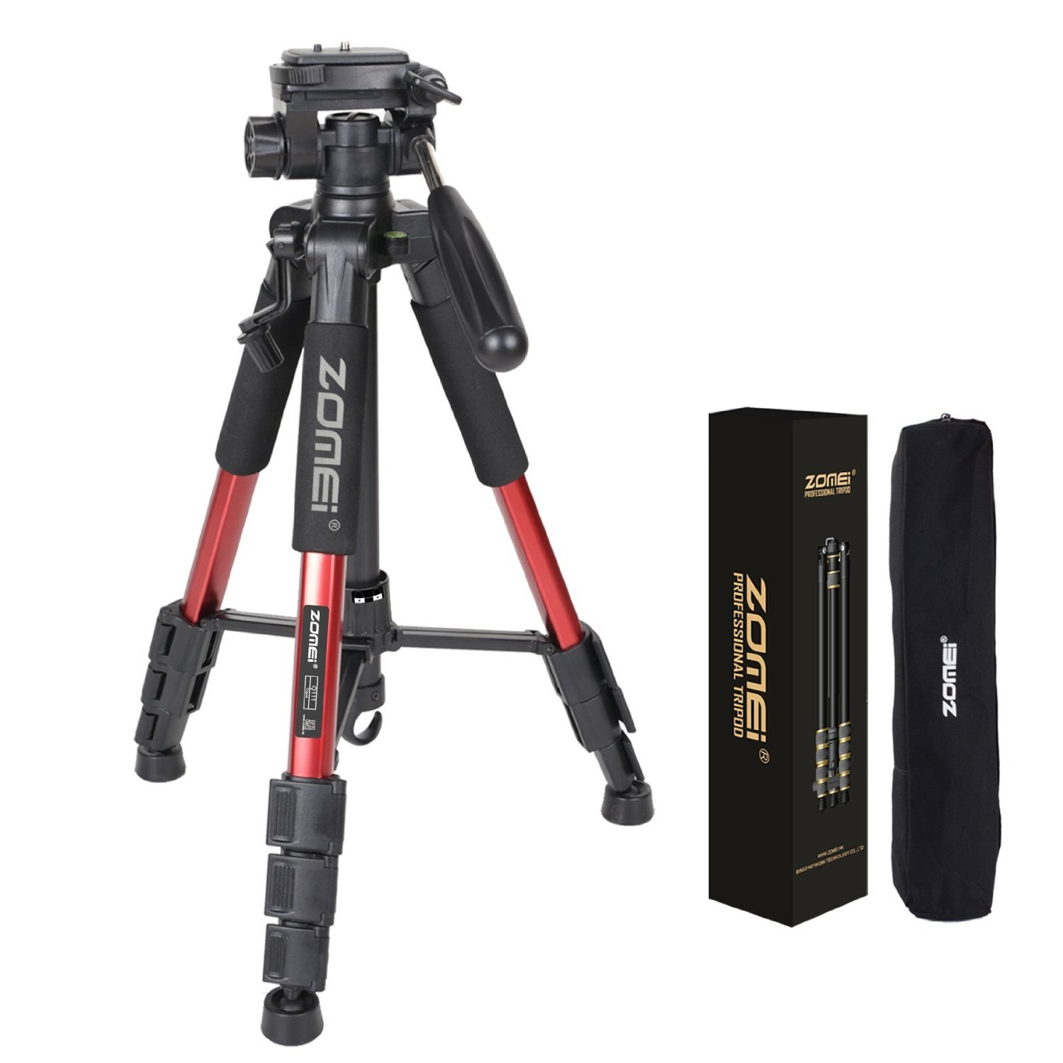Zomei Q111 55-Inch Lightweight Travel Tripod with Carrying Case (Red)