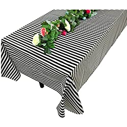 "Vpang 2 Pcs Striped Plastic Print Tablecloths Disposable Table Cover Thickened Rectangle Tablecover, Kitchen Picnic Wedding Birthday Party Table Covers, 54""x108"" (Black Stripe)"